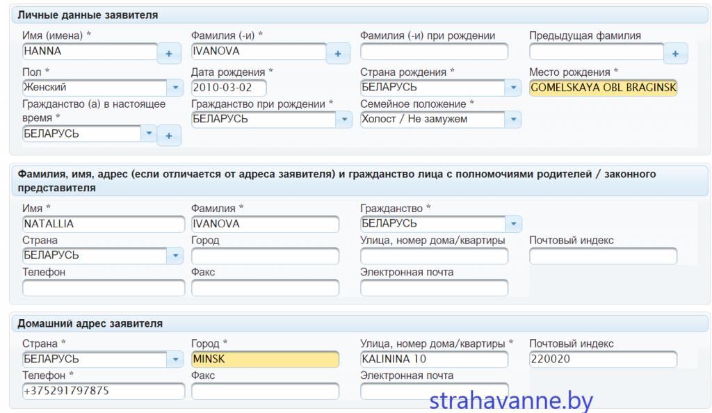Заполнение анкеты на визу в Литву для ребенка. Образец и инструкция.