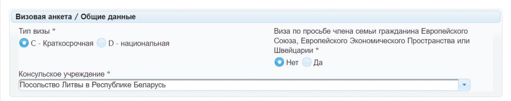 Первая графа при заполнении анкеты в Литву, что писать в краткосрочной и национальной визе.
