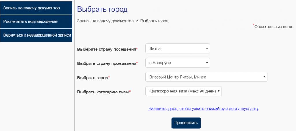Скриншот системы записи на подачу в Литву